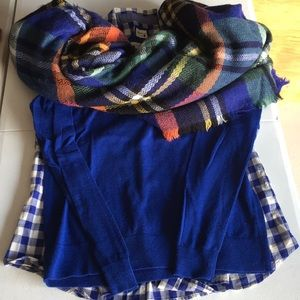 SHIRT SWEATER AND SCARF SET